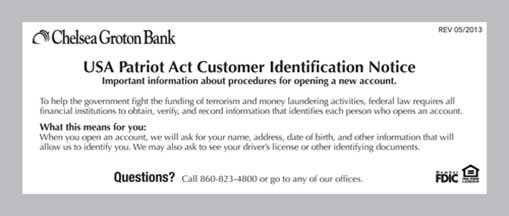 USA Patriot Act Customer Identification Notice