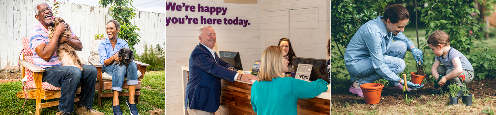 Happy people of all types of lifestyles enjoying the benefits of Banking with Chelsea Groton.